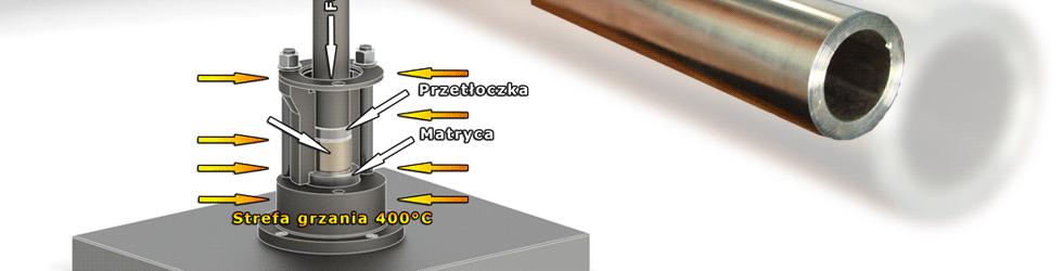 Schemat budowy układu do wyciskania materiałów metalowych na gorąco